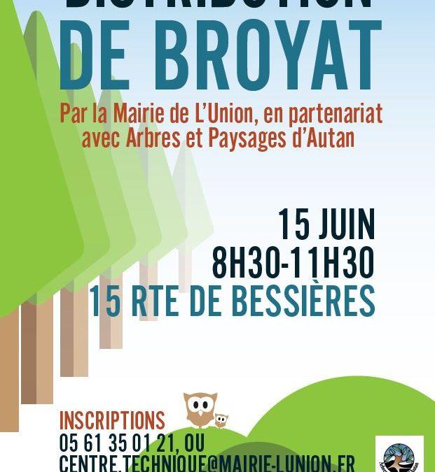 Opération de distribution de broyat – Samedi 15 juin de 8h30 à 11h30 – 15 route de Bessières
